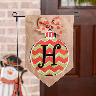 Chevron Ornament Monogram H Burlap Flag Set