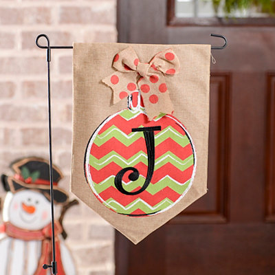 Chevron Ornament Monogram J Burlap Flag Set