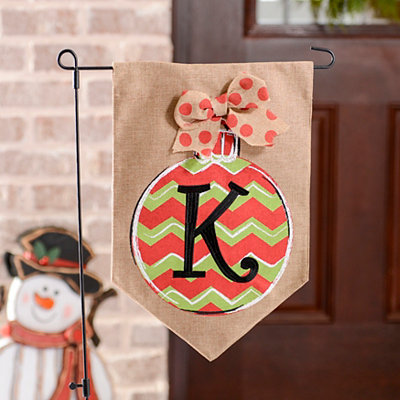 Chevron Ornament Monogram K Burlap Flag Set