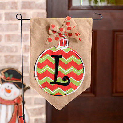 Chevron Ornament Monogram L Burlap Flag Set