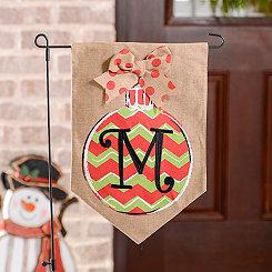 Chevron Ornament Monogram M Burlap Flag Set