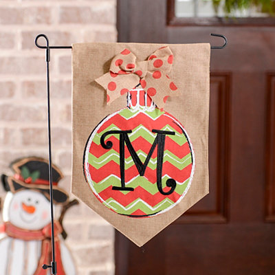 Chevron Ornament Monogram M Burlap Flag Set