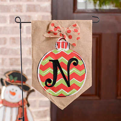 Chevron Ornament Monogram N Burlap Flag Set