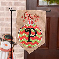 Chevron Ornament Monogram P Burlap Flag Set