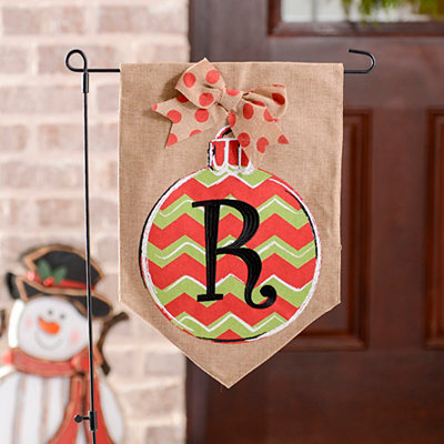 Chevron Ornament Monogram R Burlap Flag Set