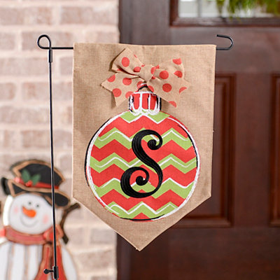 Chevron Ornament Monogram S Burlap Flag Set