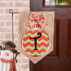 Chevron Ornament Monogram T Burlap Flag Set