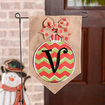 Chevron Ornament Monogram V Burlap Flag Set