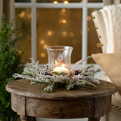 Iced Pine Branches Glass Candle Holder