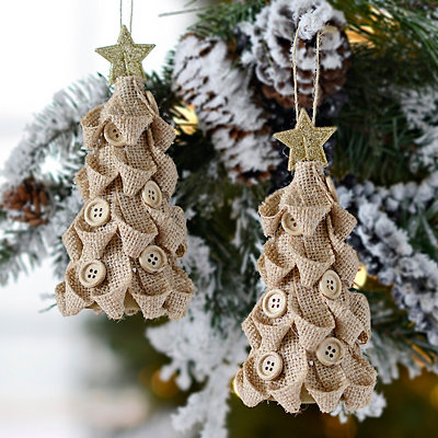 Natural Burlap Button Tree Ornaments, Set of 2
