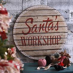 Santa's Workshop Round Plaque