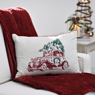 Tan Vintage Christmas Car Pillow