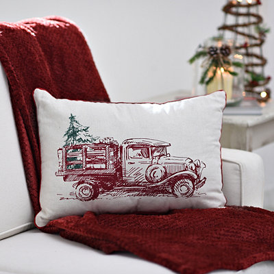 Tan Vintage Christmas Truck Pillow