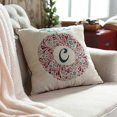 Paisley Wreath Monogram C Pillow