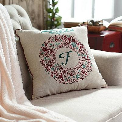 Paisley Wreath Monogram F Pillow