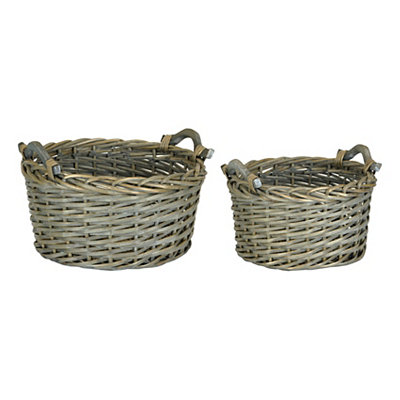 Round Woven Willow Baskets, Set of 2
