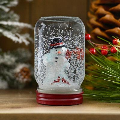 Snowman and Friends Mason Jar Snow Globe