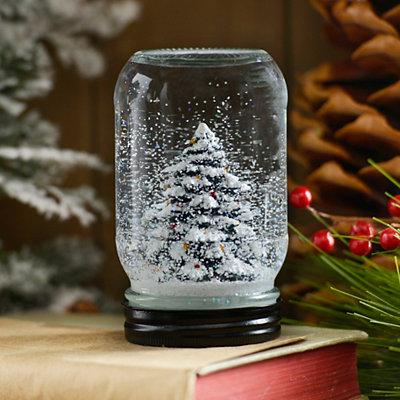 Snowy Christmas Tree Mason Jar Snow Globe