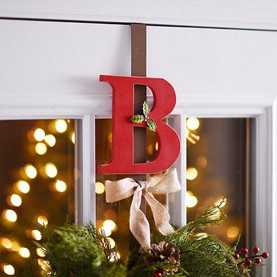 Monogram B Holly Wreath Hanger