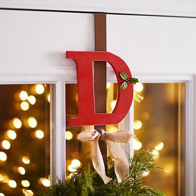 Monogram D Holly Wreath Hanger