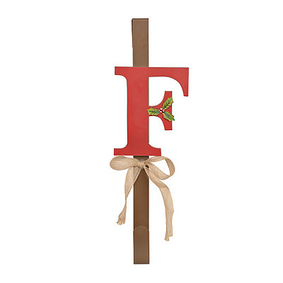 Monogram F Holly Wreath Hanger