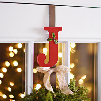 Monogram J Holly Wreath Hanger