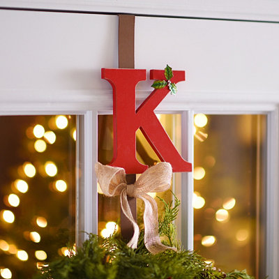 Monogram K Holly Wreath Hanger