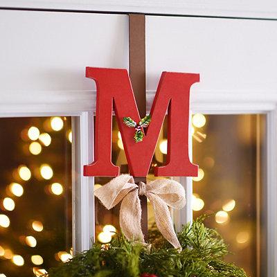 Monogram M Holly Wreath Hanger
