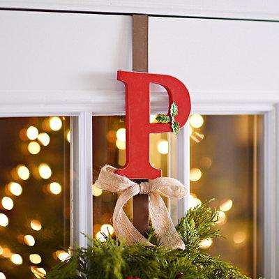 Monogram P Holly Wreath Hanger