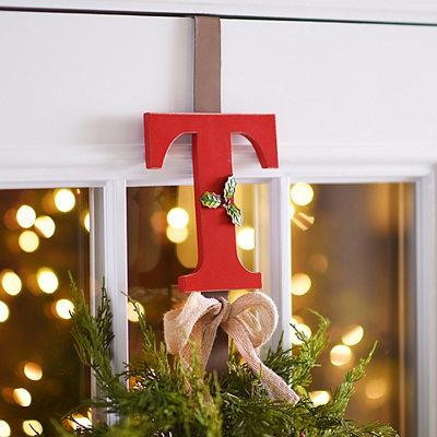 Monogram T Holly Wreath Hanger