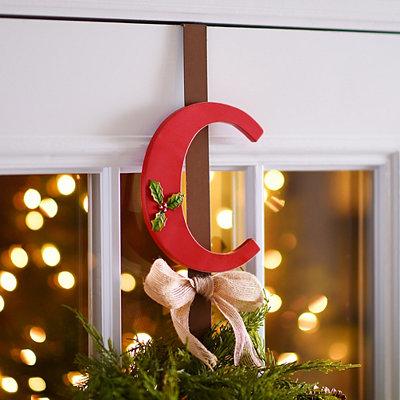Monogram C Holly Wreath Hanger