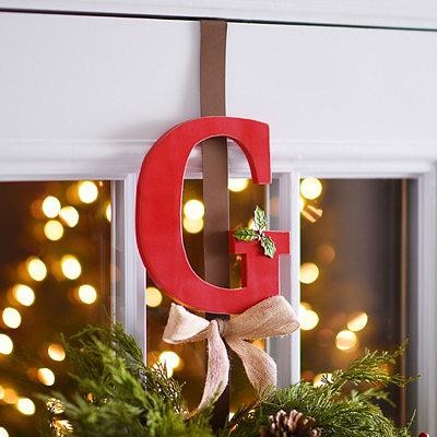 Monogram G Holly Wreath Hanger