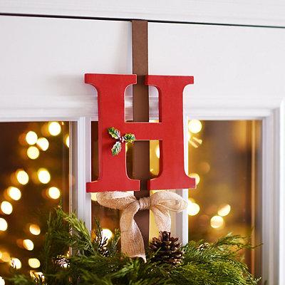 Monogram H Holly Wreath Hanger