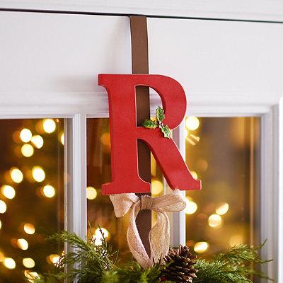 Monogram R Holly Wreath Hanger