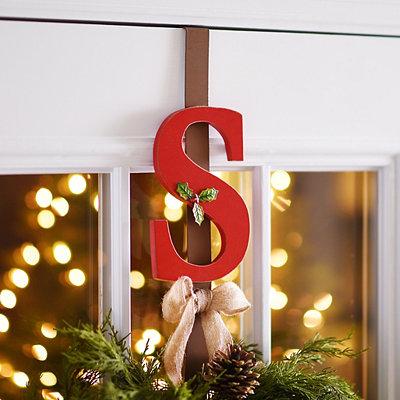 Monogram S Holly Wreath Hanger