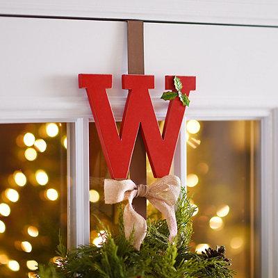 Monogram W Holly Wreath Hanger