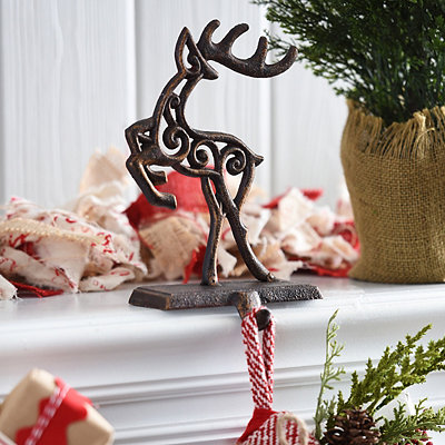 Bronze Reindeer Stocking Holder