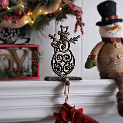Bronze Snowman Stocking Holder