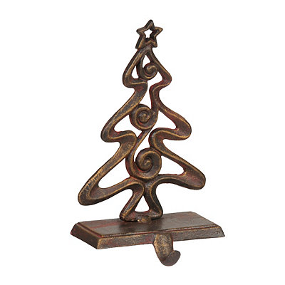 Bronze Christmas Tree Stocking Holder