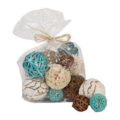 Aqua and Brown Dried Orb Set