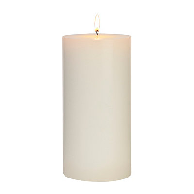 Unscented White Pillar Candle, 7.5 in.