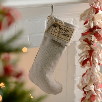 Rustic Season's Greetings Knit Stocking