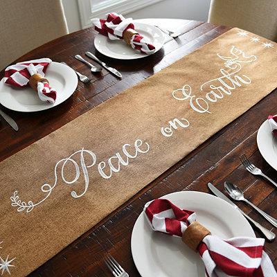 Peace on Earth Tan Table Runner