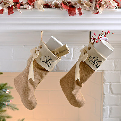 Mr & Mrs Burlap Stockings, Set of 2