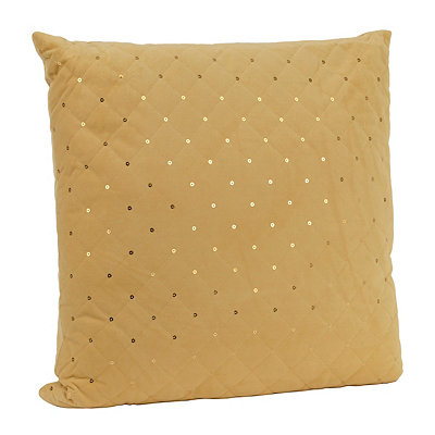 Yellow Quilted Velvet Sequin Pillow