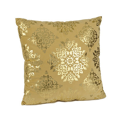 Yellow Metallic Medallion Velvet Pillow