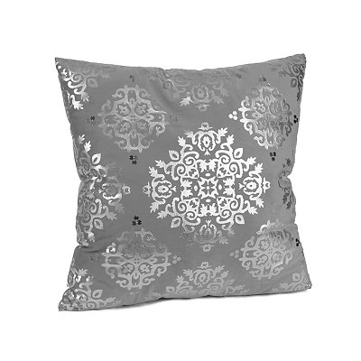 Silver Metallic Medallion Velvet Pillow