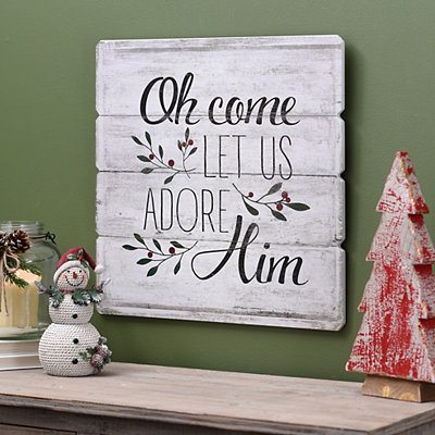 Oh Come Let Us Adore Him Wood Plank Plaque