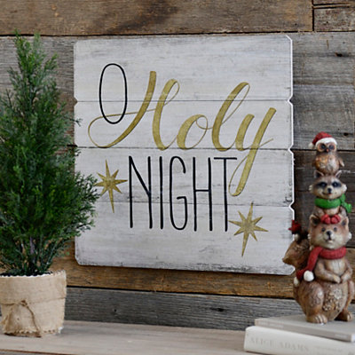 Oh Holy Night Wood Plank Plaque
