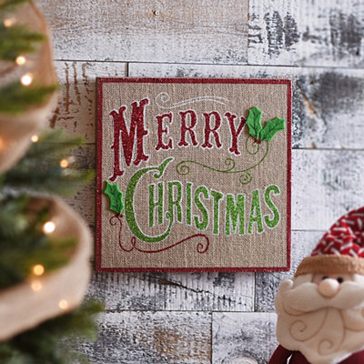 Glittered Merry Christmas Burlap Plaque